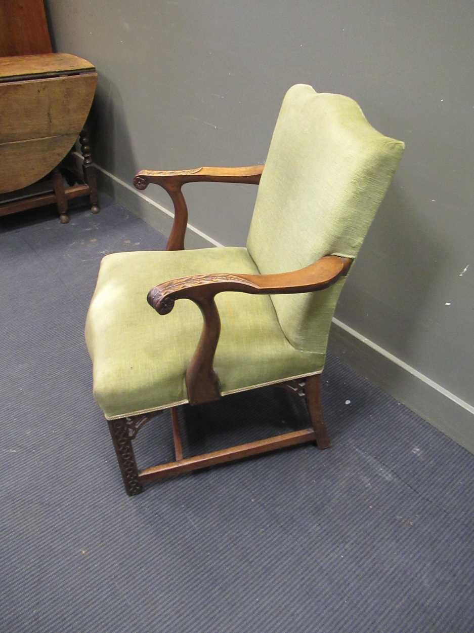 A George III style elbow chair with serpentine back and seat on carved legs with fret carved - Image 3 of 6
