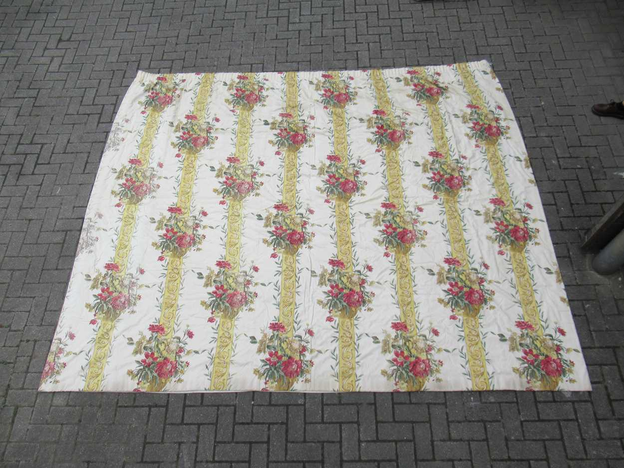 A pair of curtains, lined and interlined with tape heading, each measuring 325cm wide and 265cm