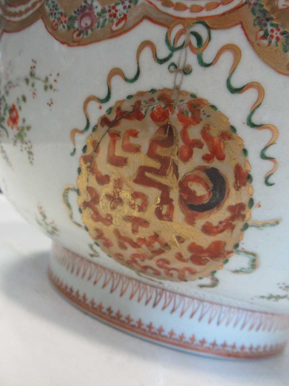A large Sampson punch bowl, decorated in 18th century Chiense style, 36cm diameterCondition - Image 4 of 14