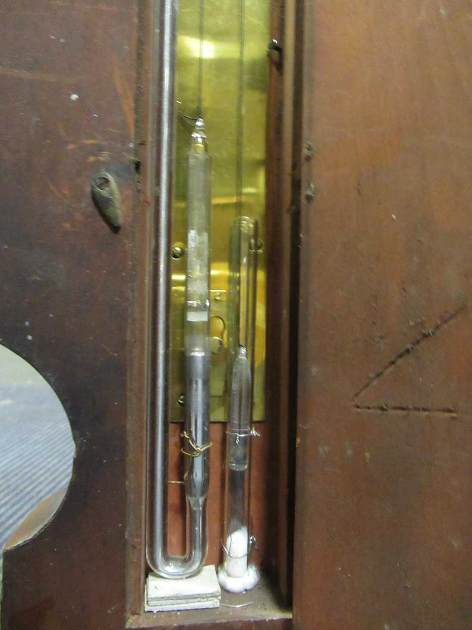 A Regency mahogany wheel barometer, maker Blandford, with silvered dial, the case with boxwood and - Image 6 of 10