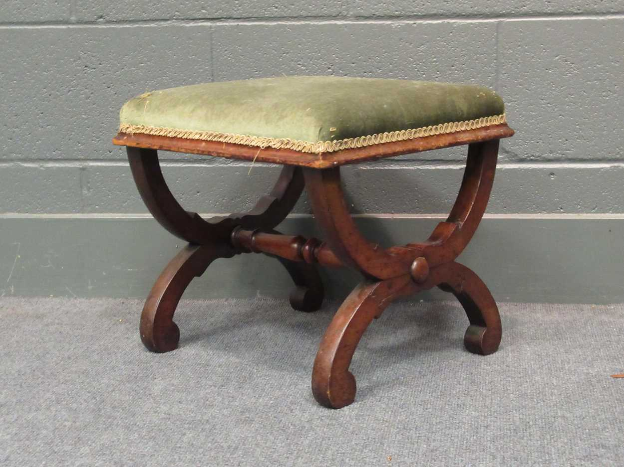 An Edwardian inlaid high-back elbow chair together with an X-frame stool - Image 2 of 15