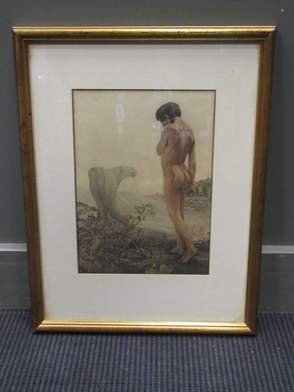 Edward J and Charles M Detmold, Mowgli leaving the jungle, lithograph, 57 x 43cm framed - Image 4 of 4