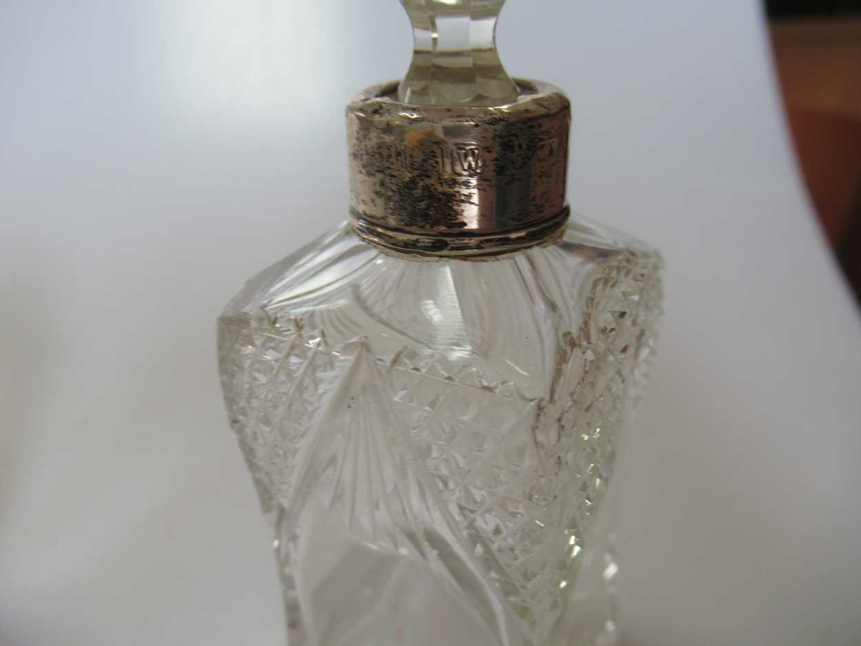 A collection of glass scent bottles some silver mounted - Image 3 of 3