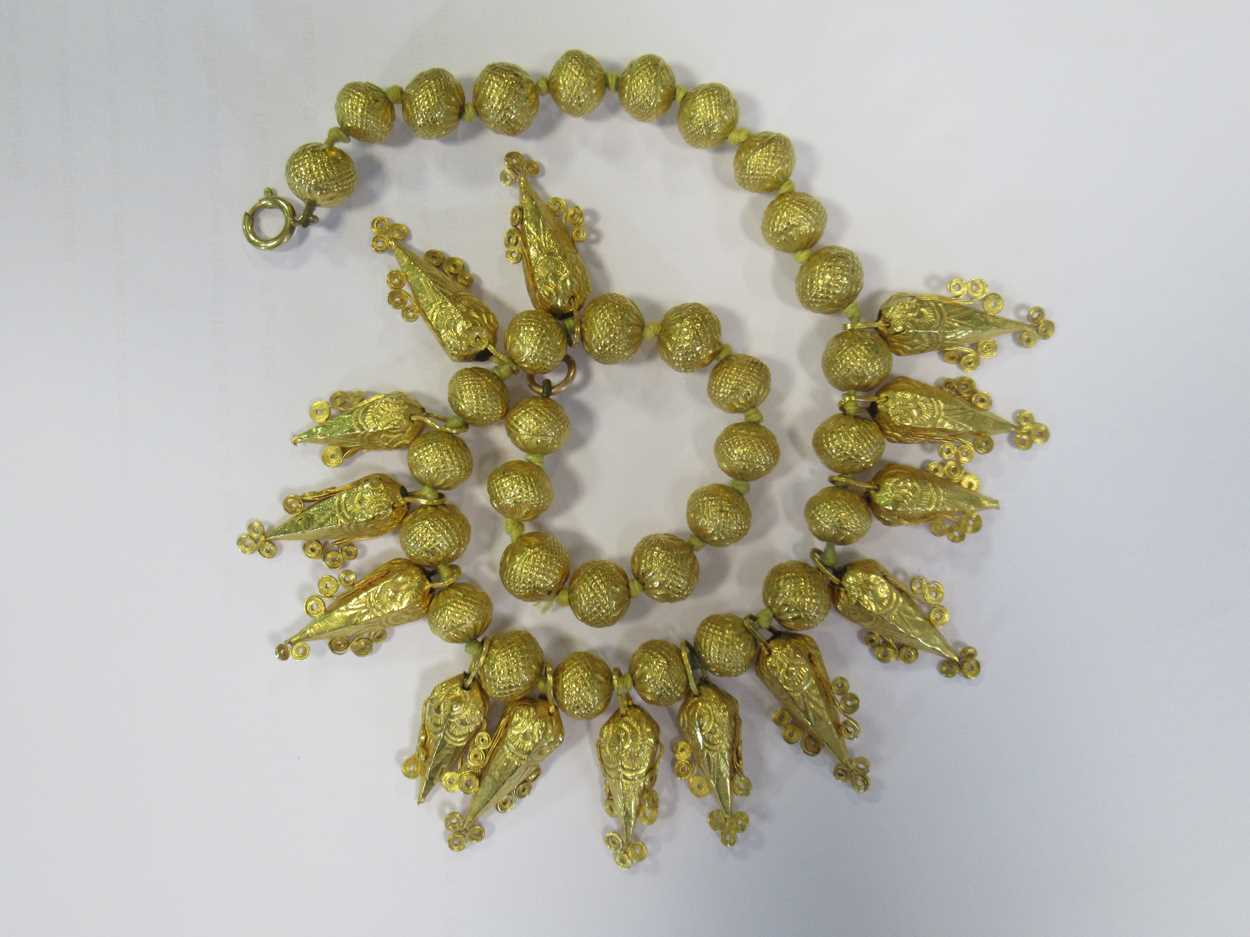 An Indian wax filled bead necklace, tested as 22ct gold, gross weight 83.2g, together with a - Image 11 of 14