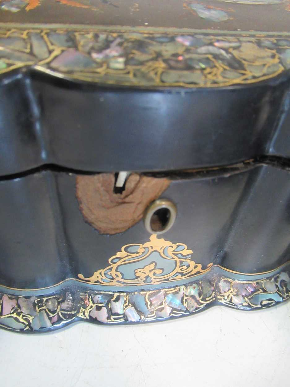 A 19th century string box, a black lacquered bottle coaster, a papier mache and mother of pearl box, - Image 4 of 4