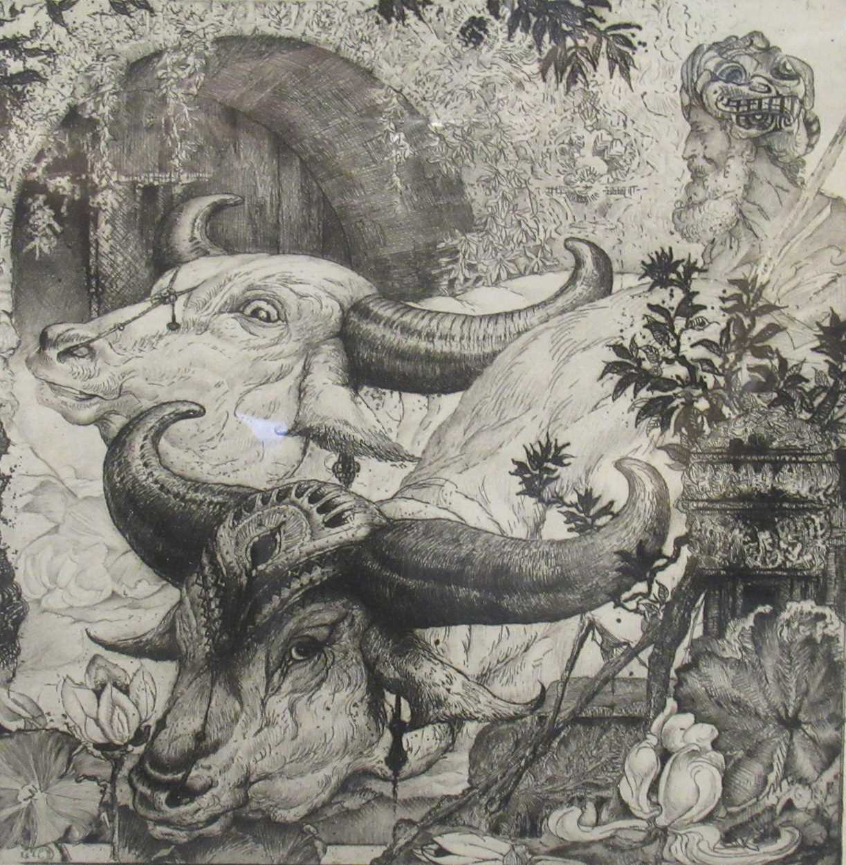 Edward Julius Detmold (1883-1957) At the Edge of the Lotus Pool, signed etching, 19.5 x 19.5cm