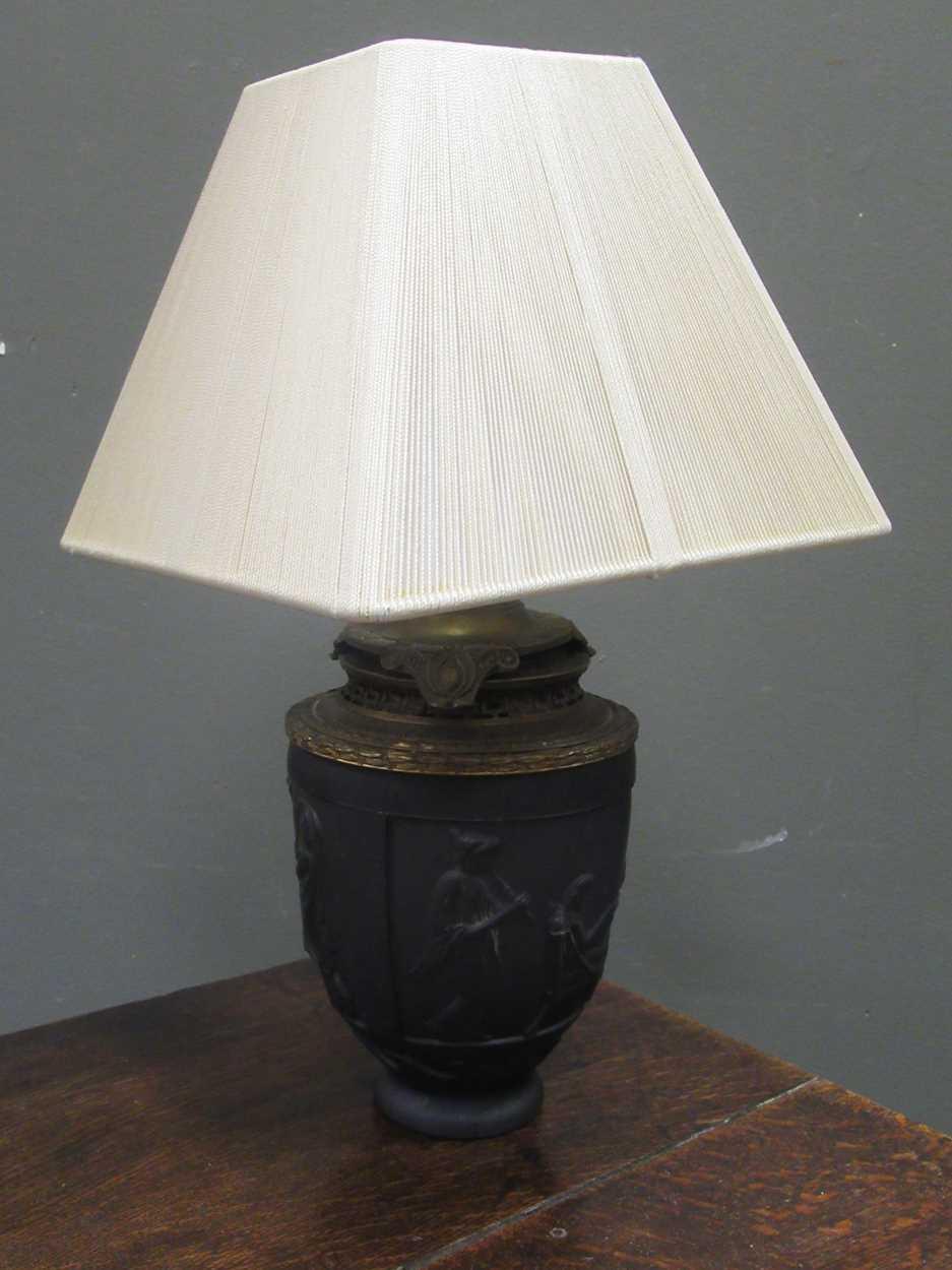 A G. de Feun black glass vase, now adapted as a lamp, 36cm high including shade