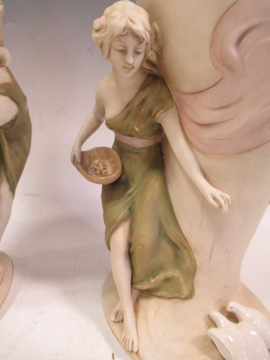 A pair of Royal Dux figural vases, applied pink triangle marks, stamped 1391 & 1392, 35cm high (2) - Image 5 of 7