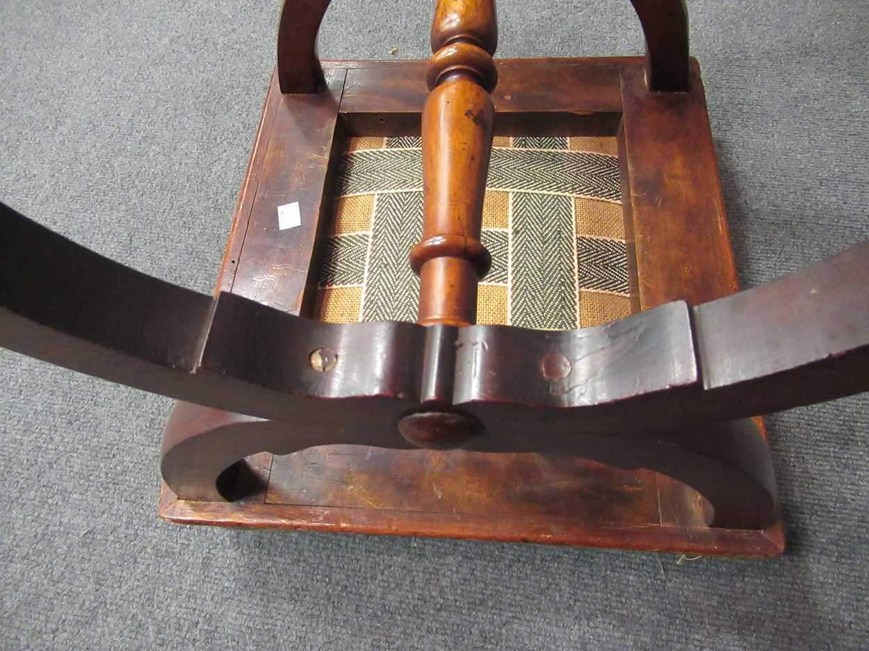 An Edwardian inlaid high-back elbow chair together with an X-frame stool - Image 12 of 15