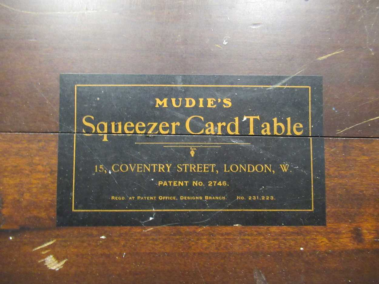 A Mudies squeezer card table with felt top and folding legs, top measures 86 x 86cm - Image 5 of 9