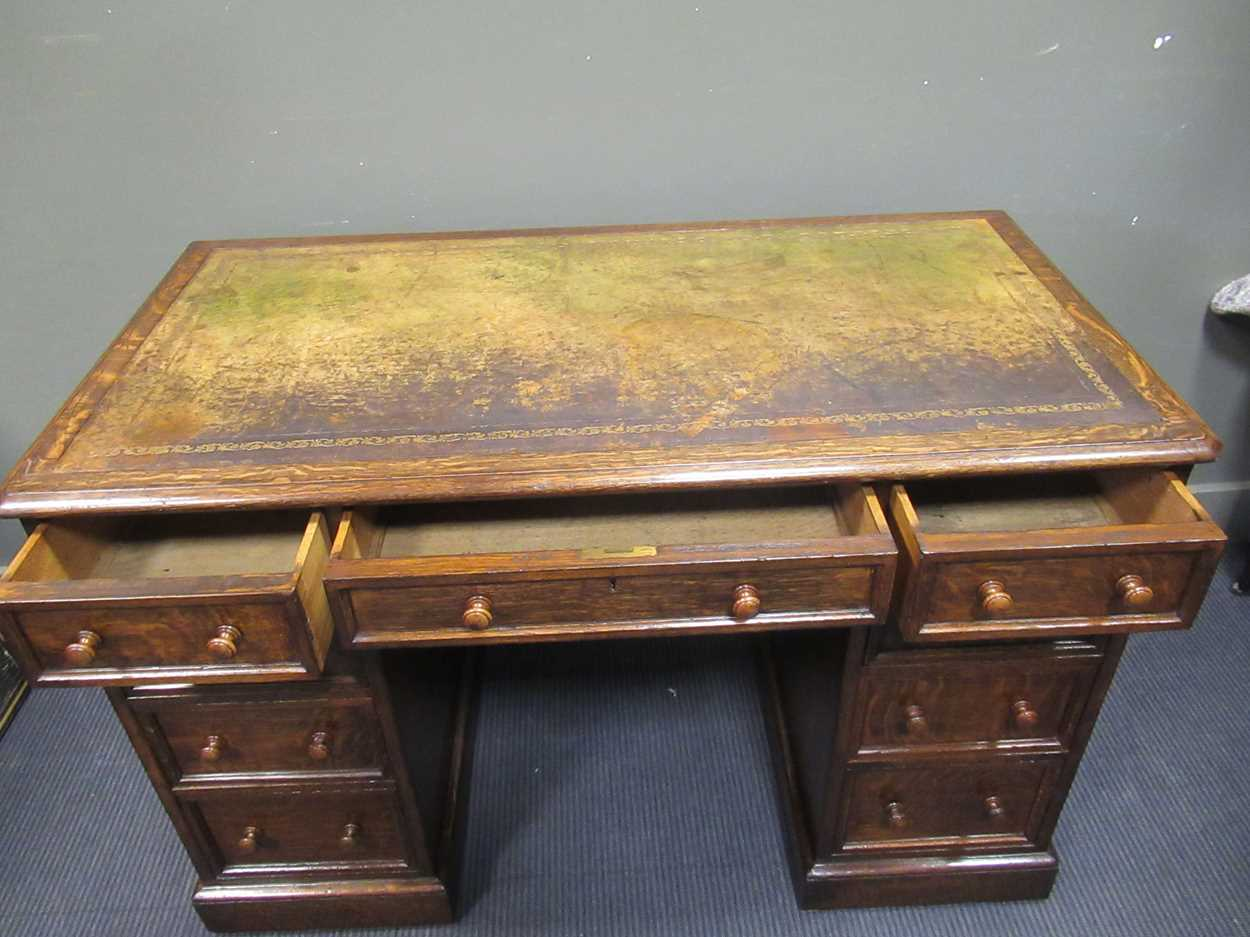 """A late Victorian oak twin pedestal writing desk stamped """"1209 Wilkinson & Son 8 Old Bond Street"""" the - Image 9 of 9"""