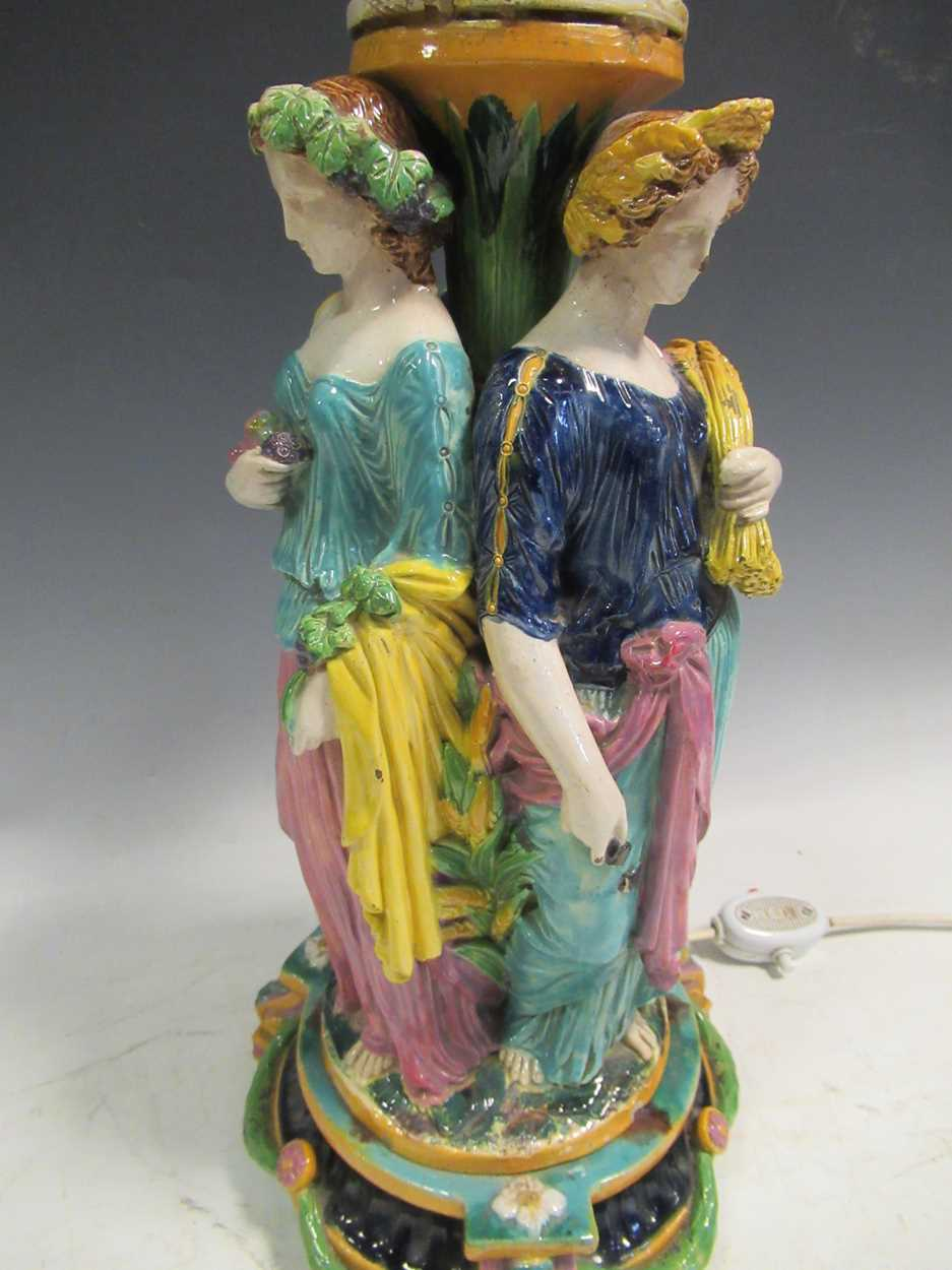 A majolica figural centrepiece, modelled as three maidens, converted to a lamp, 42cm high - Image 4 of 16