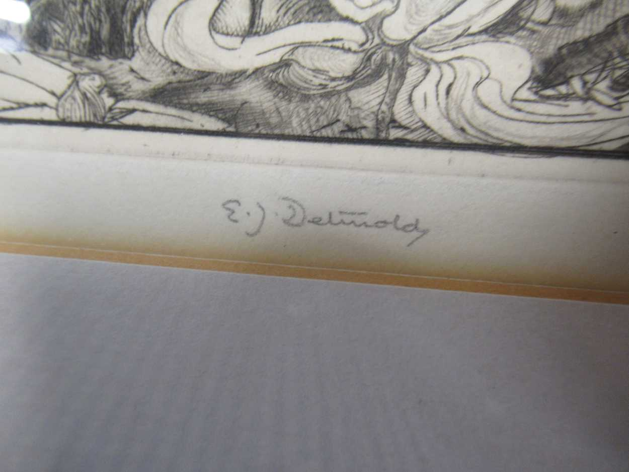 Edward Julius Detmold (1883-1957) At the Edge of the Lotus Pool, signed etching, 19.5 x 19.5cm - Image 3 of 3