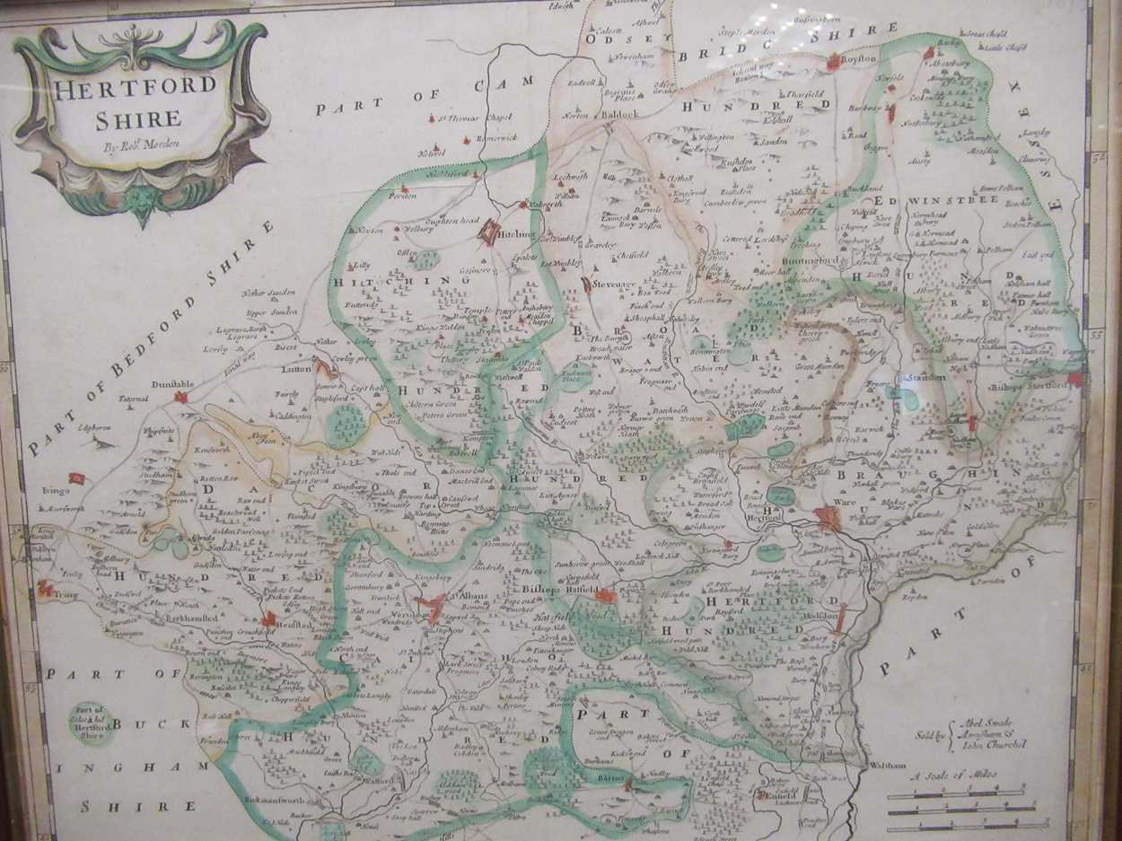 Robert Morden map of Hertfordshire, a 1612 map of Hertfordshire, a Johnannes Norden map of - Image 8 of 8