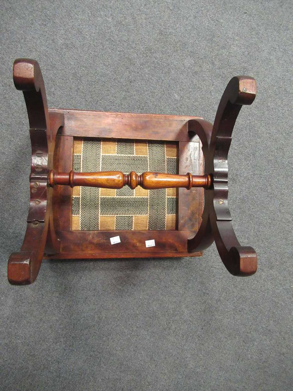 An Edwardian inlaid high-back elbow chair together with an X-frame stool - Image 13 of 15