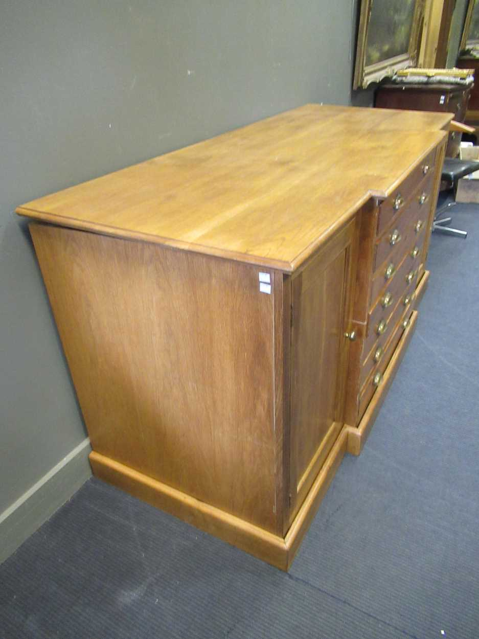 A 20th century blonde oak breakfront plan/ map chest, comprising of seven long drawers flanked by - Image 4 of 6