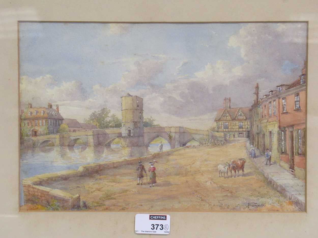 A watercolour of St Ives bridge by J A Temple, dated 1921, 21 x 31cm and another watercolour coastal - Image 2 of 10
