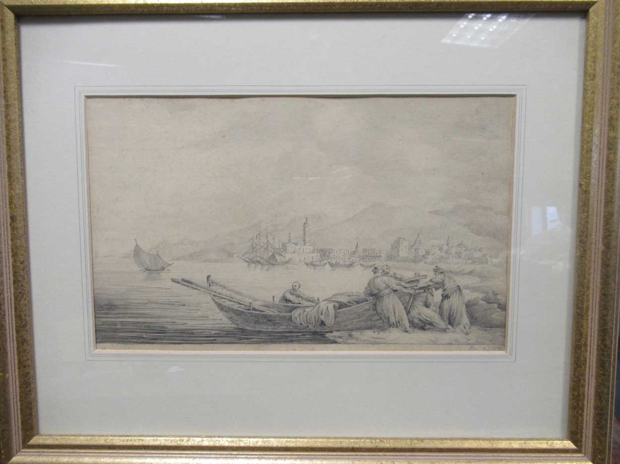 Italian School (19th century)A Mediterranean coastal scene with figures hauling a boat, dated - Image 2 of 4