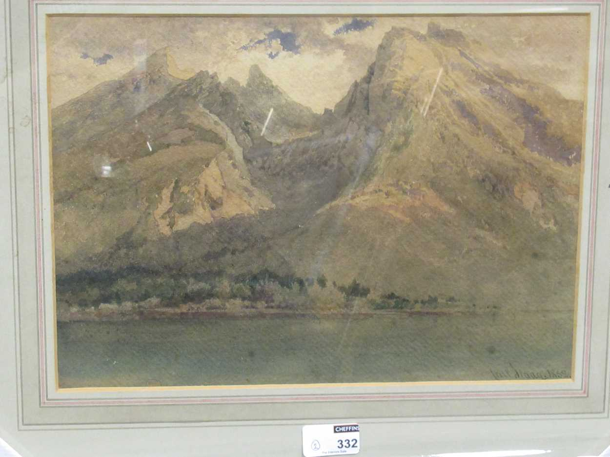 A pair of 19th century landscapes, to include: Carl Haag RWS (German 1820-1915), An Alpine Lake, - Image 3 of 6