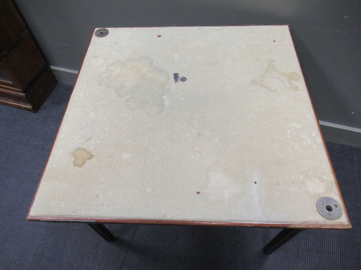 A Mudies squeezer card table with felt top and folding legs, top measures 86 x 86cm - Image 2 of 9