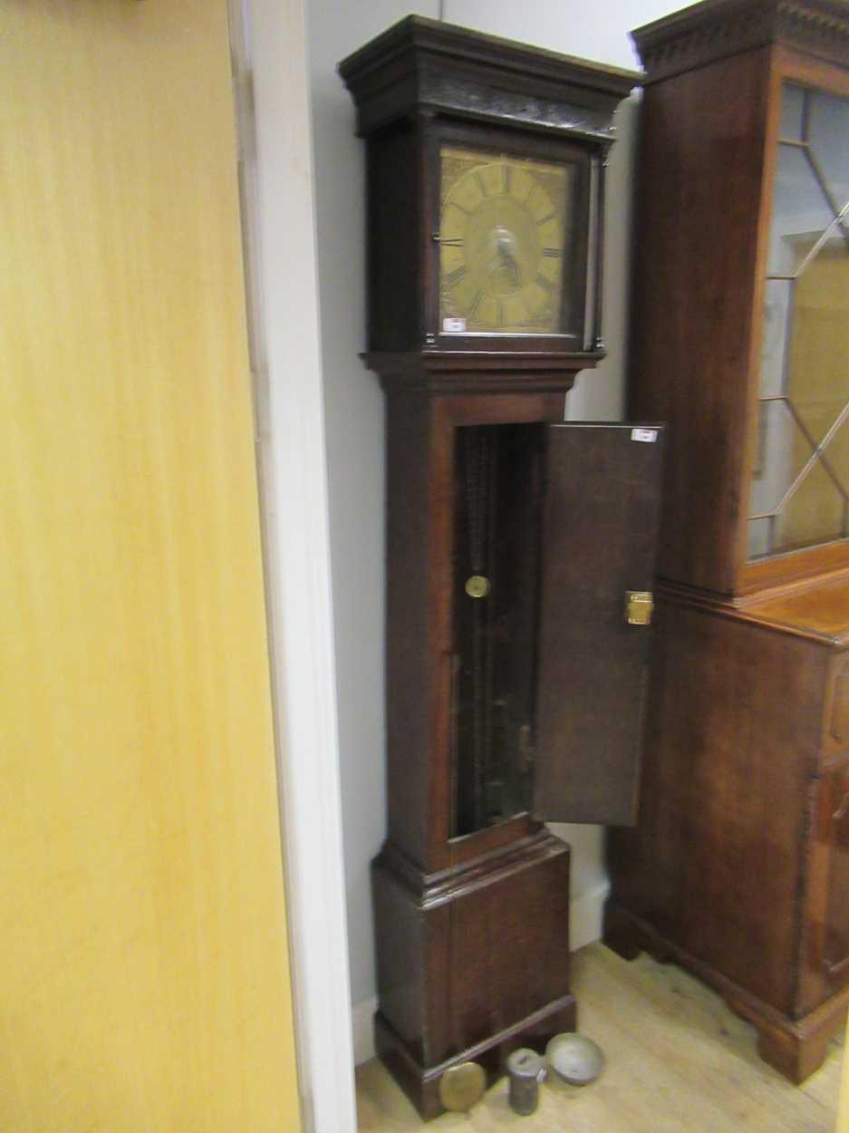 An oak 30 hour brass faced long case clock, maker Worcester - Image 5 of 5