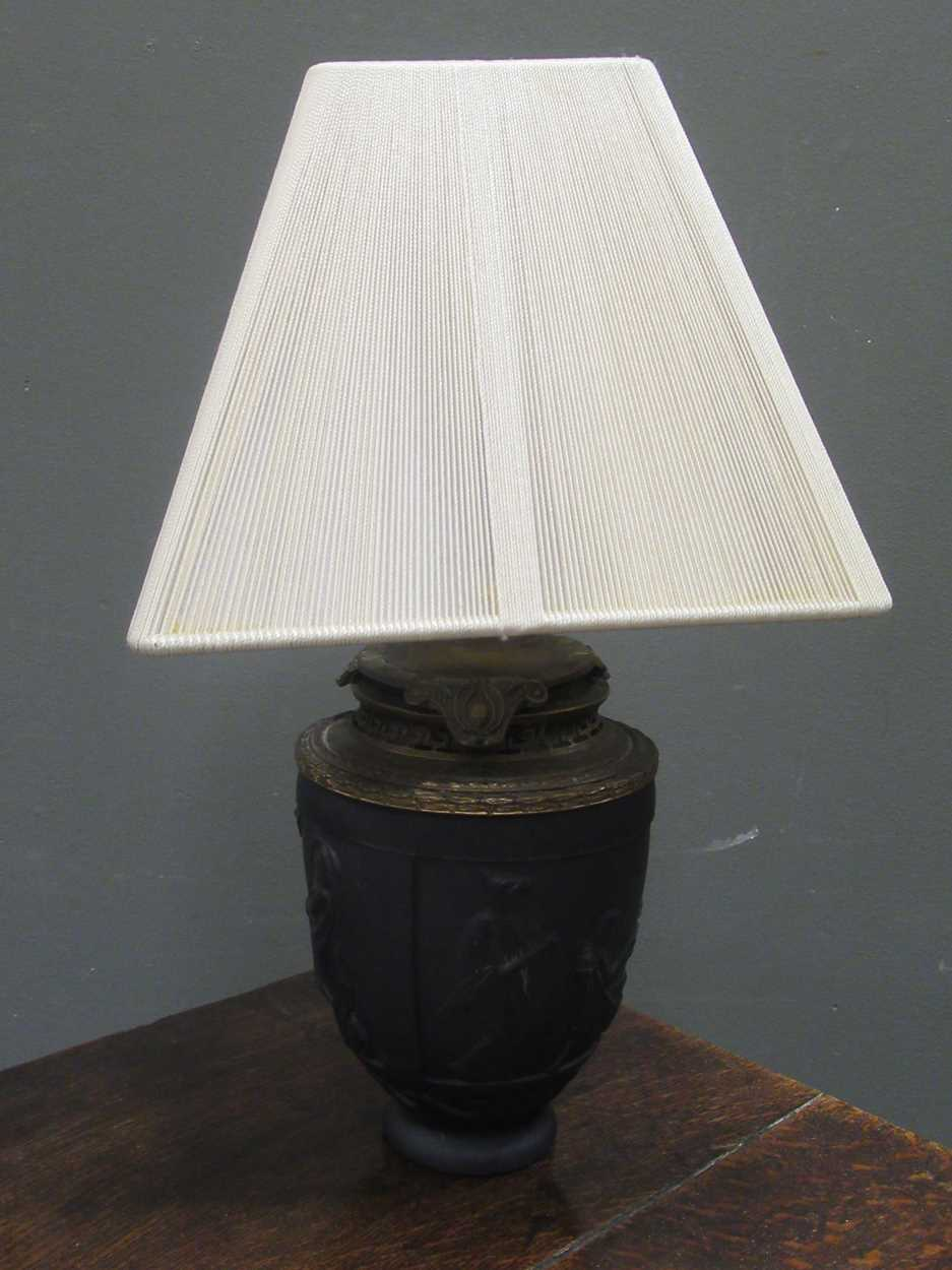 A G. de Feun black glass vase, now adapted as a lamp, 36cm high including shade - Image 2 of 4