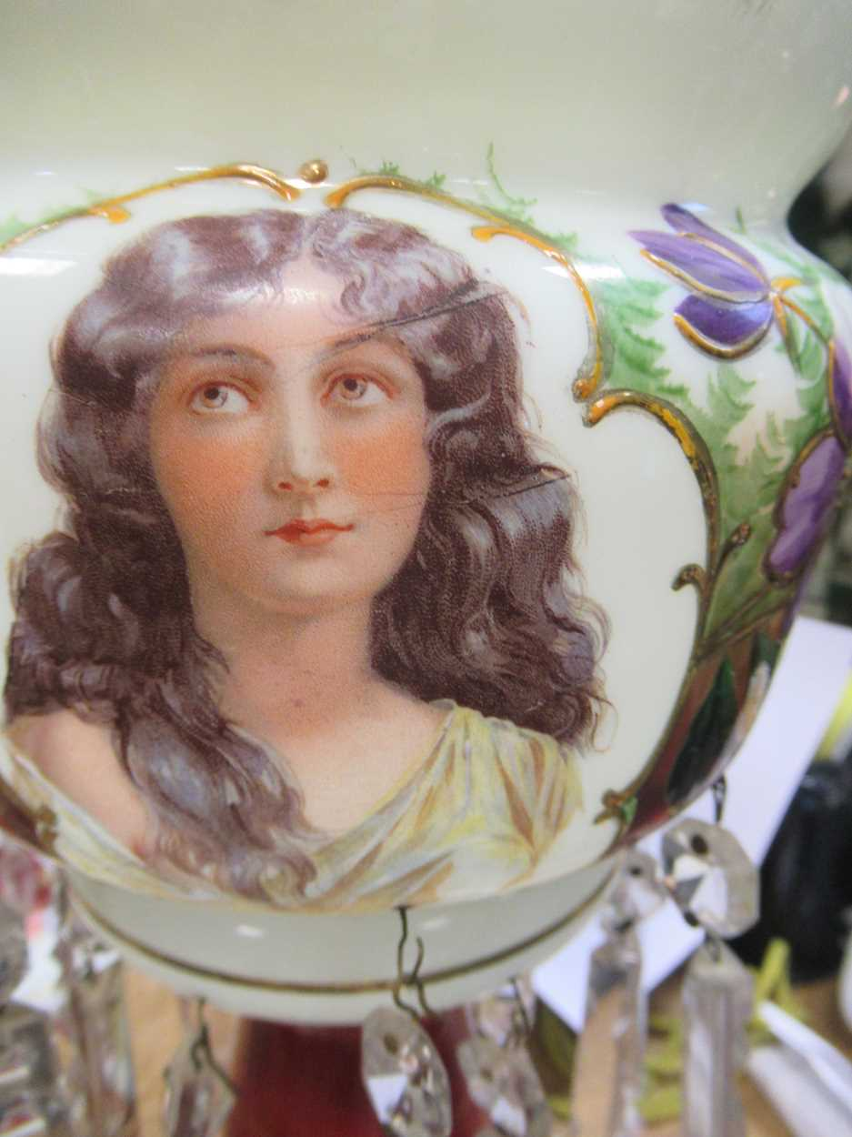 A pair of late 19th century continental opaque white glass lustres, each printed and painted with - Image 11 of 15