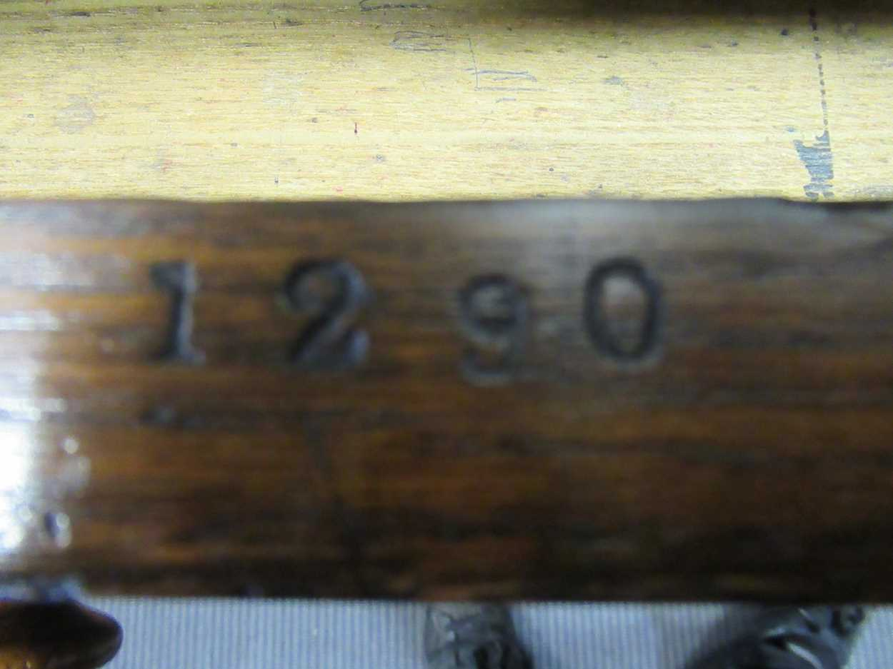 """A late Victorian oak twin pedestal writing desk stamped """"1209 Wilkinson & Son 8 Old Bond Street"""" the - Image 7 of 9"""
