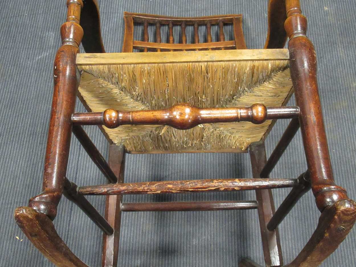 A rush seated stick back rocking chair 108cm high - Image 3 of 5