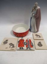 A boxed modern Lladro model of the Blessed family, together with a Poole Delphis ware bowl, three