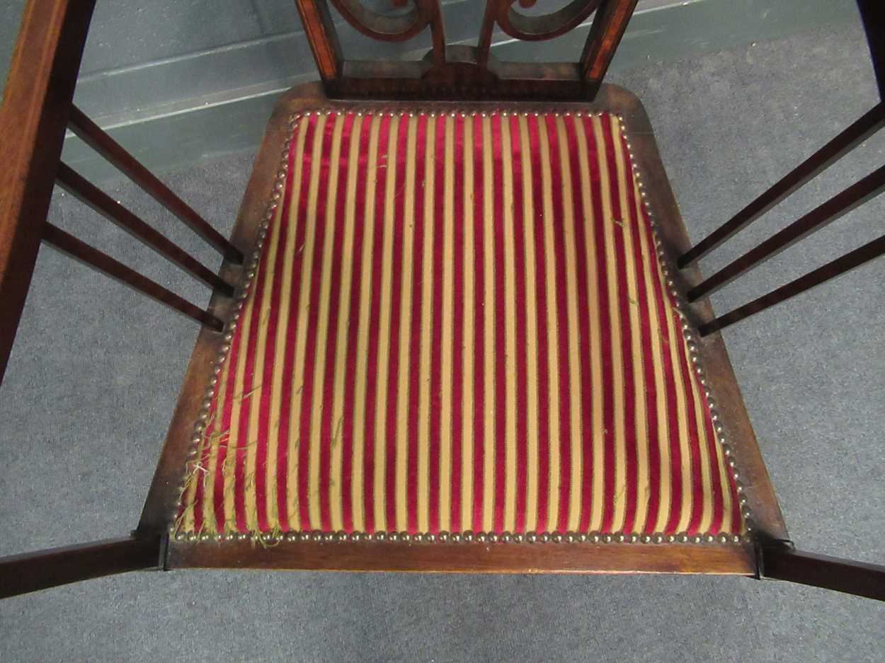 An Edwardian inlaid high-back elbow chair together with an X-frame stool - Image 5 of 15