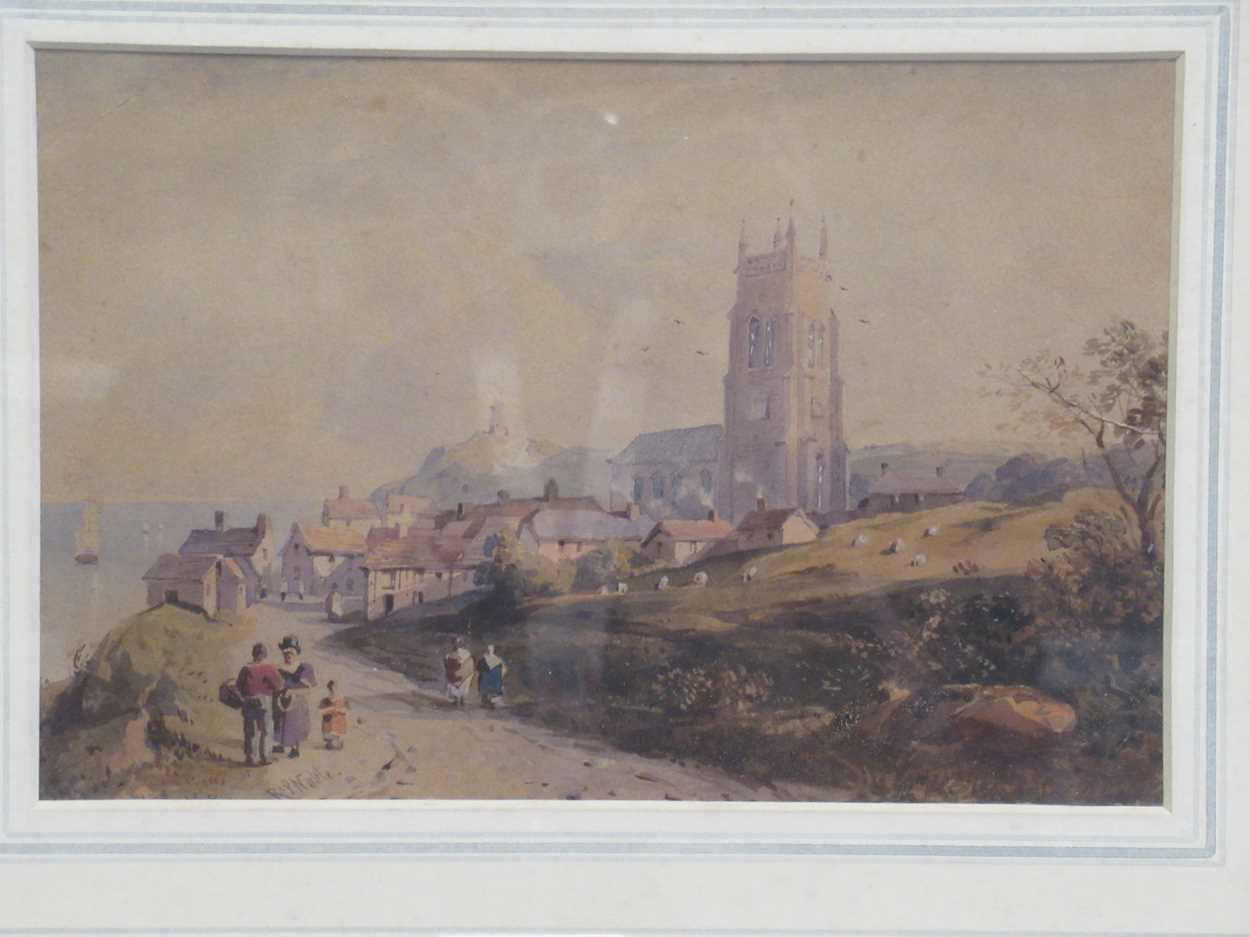 A watercolour of St Ives bridge by J A Temple, dated 1921, 21 x 31cm and another watercolour coastal