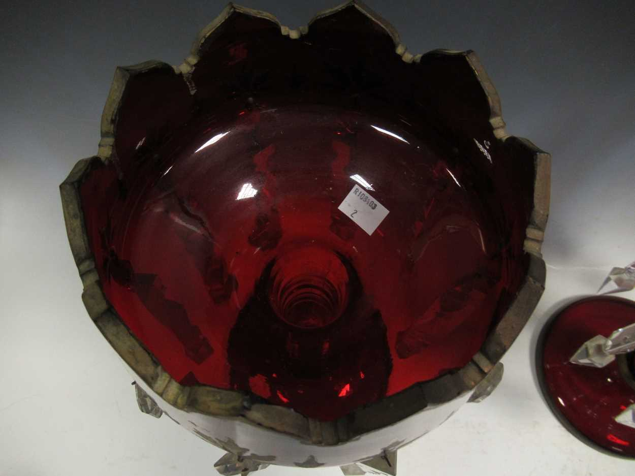 A pair of Bohemian red glass lustres, with gilt decoration, 40cm high - Image 8 of 9