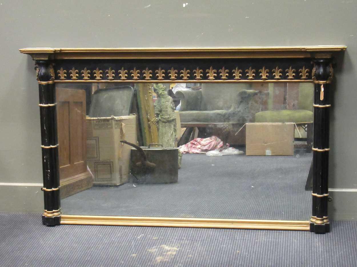 A landscape overmantel mirror with cluster columns 78 x 134cm