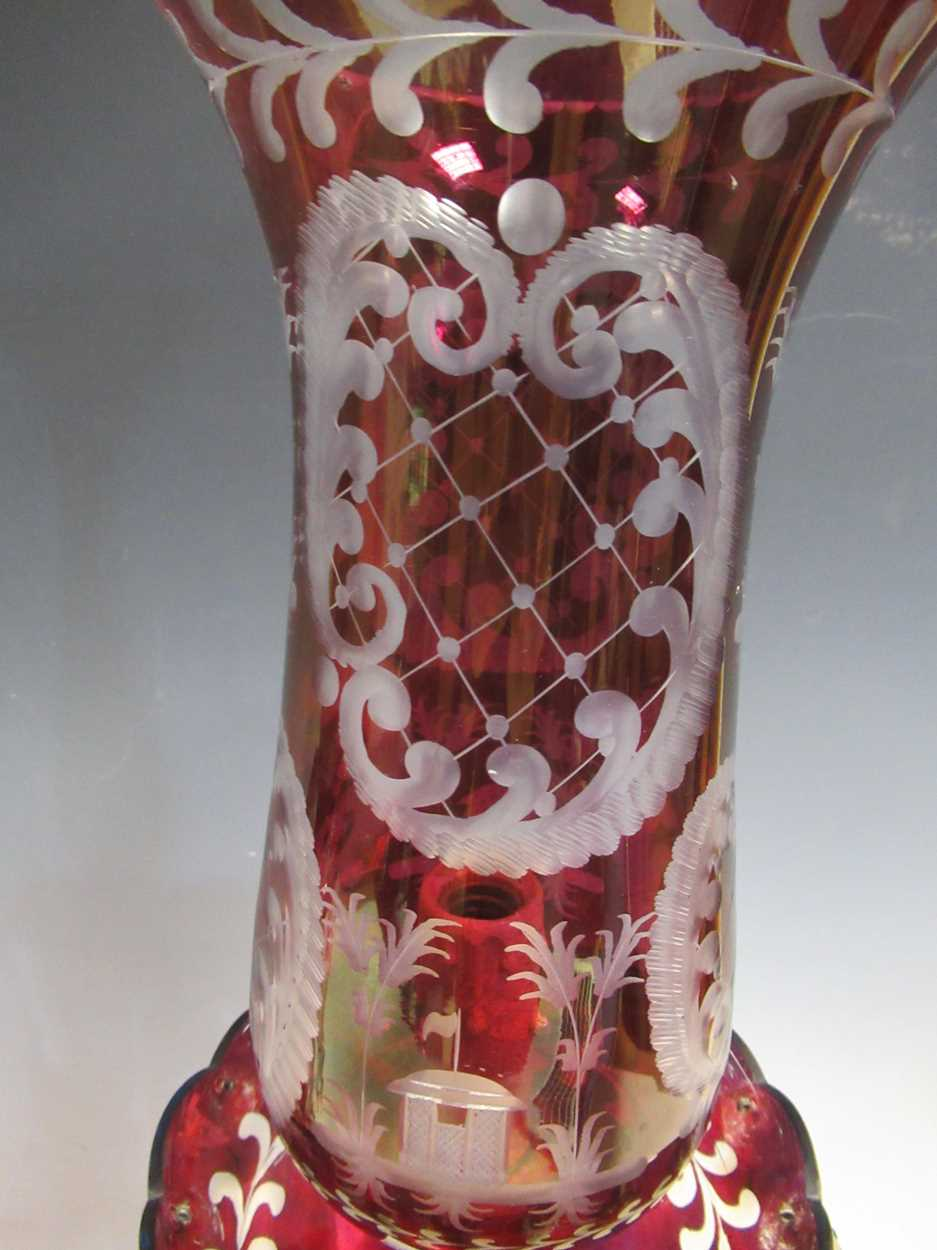 A pair of red glass candle lustres, 45cm high - Image 4 of 8