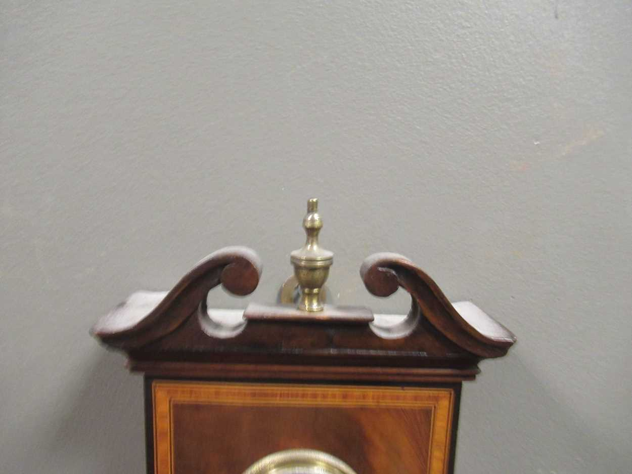 A Regency mahogany wheel barometer, maker Blandford, with silvered dial, the case with boxwood and - Image 7 of 10