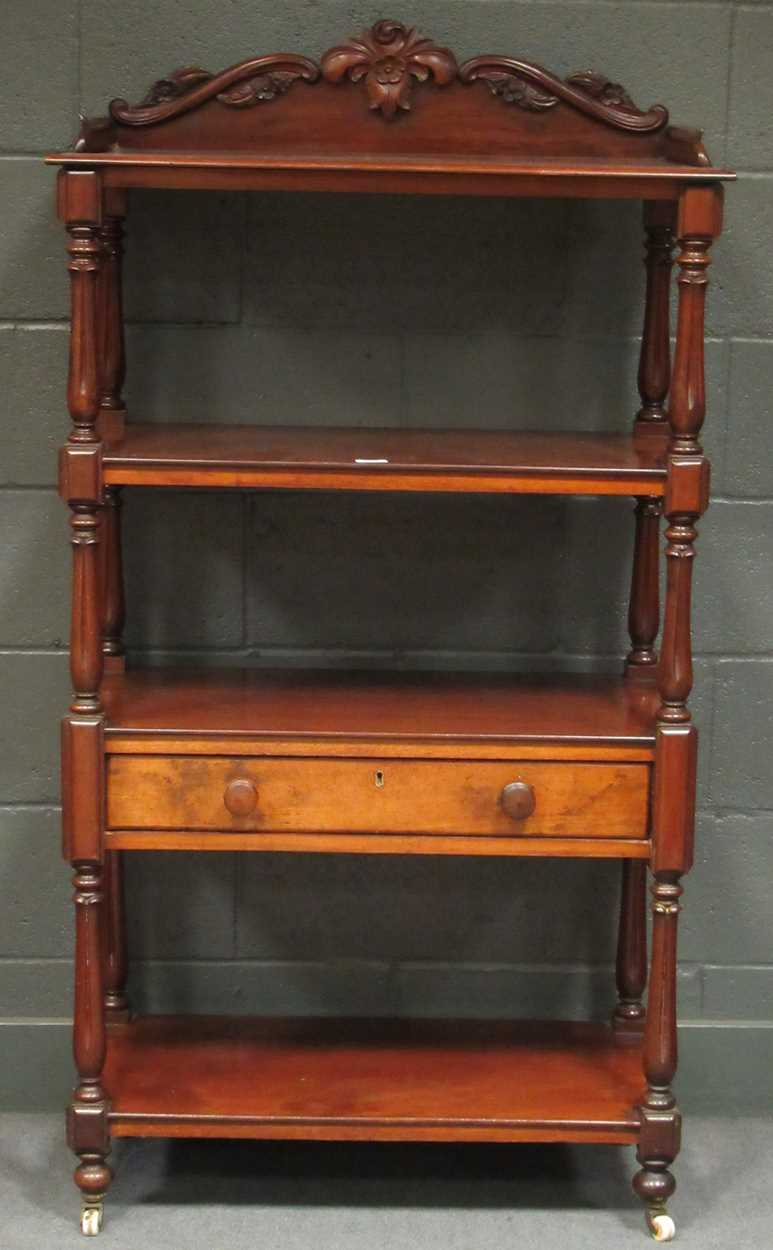 Victorian mahogany four tier whatnot, 155 x 82 x 42 cm