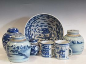 Two Chinese blue and white export tankards; four Chinese blue and white ginger jars and a Chinese