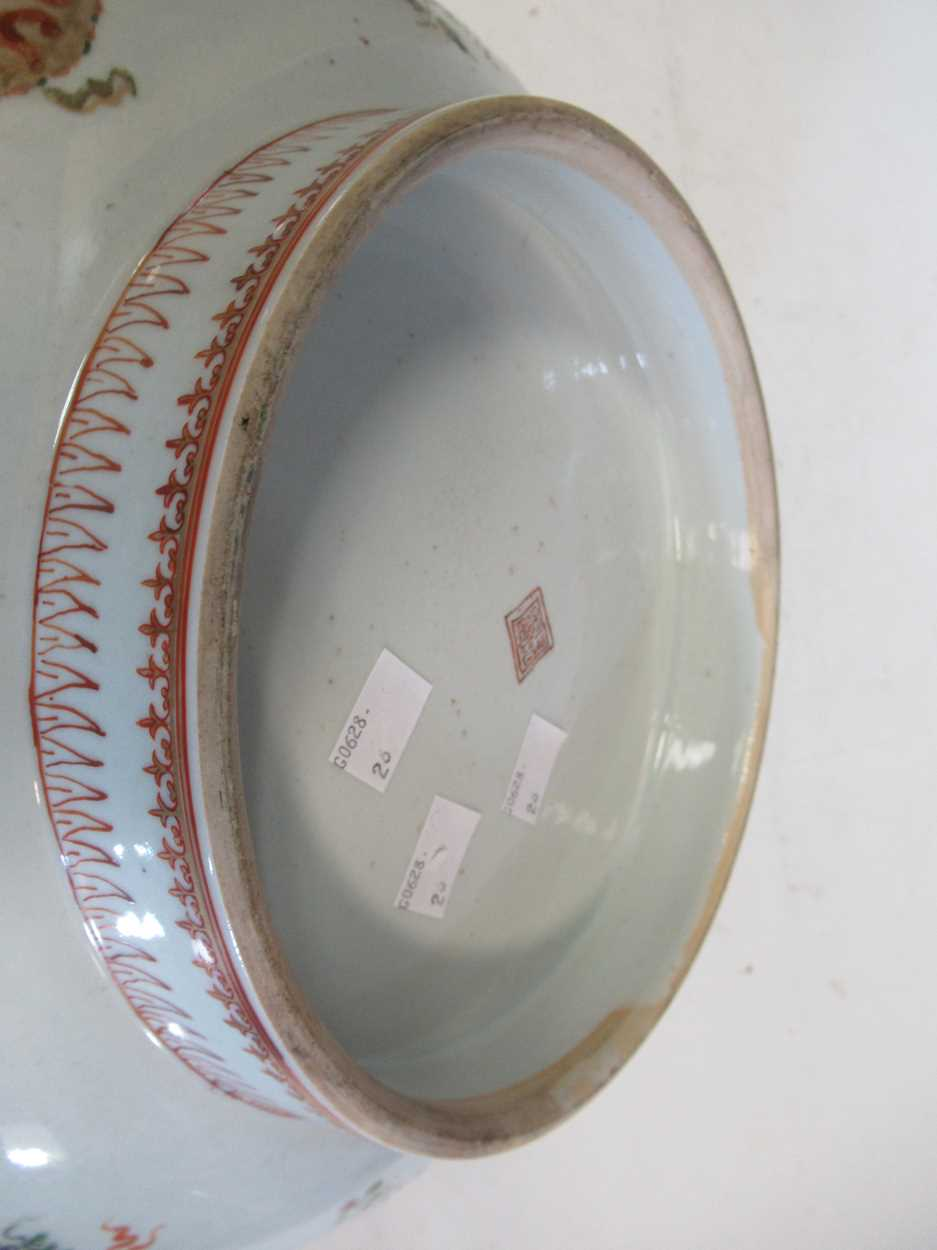A large Sampson punch bowl, decorated in 18th century Chiense style, 36cm diameterCondition - Image 5 of 14
