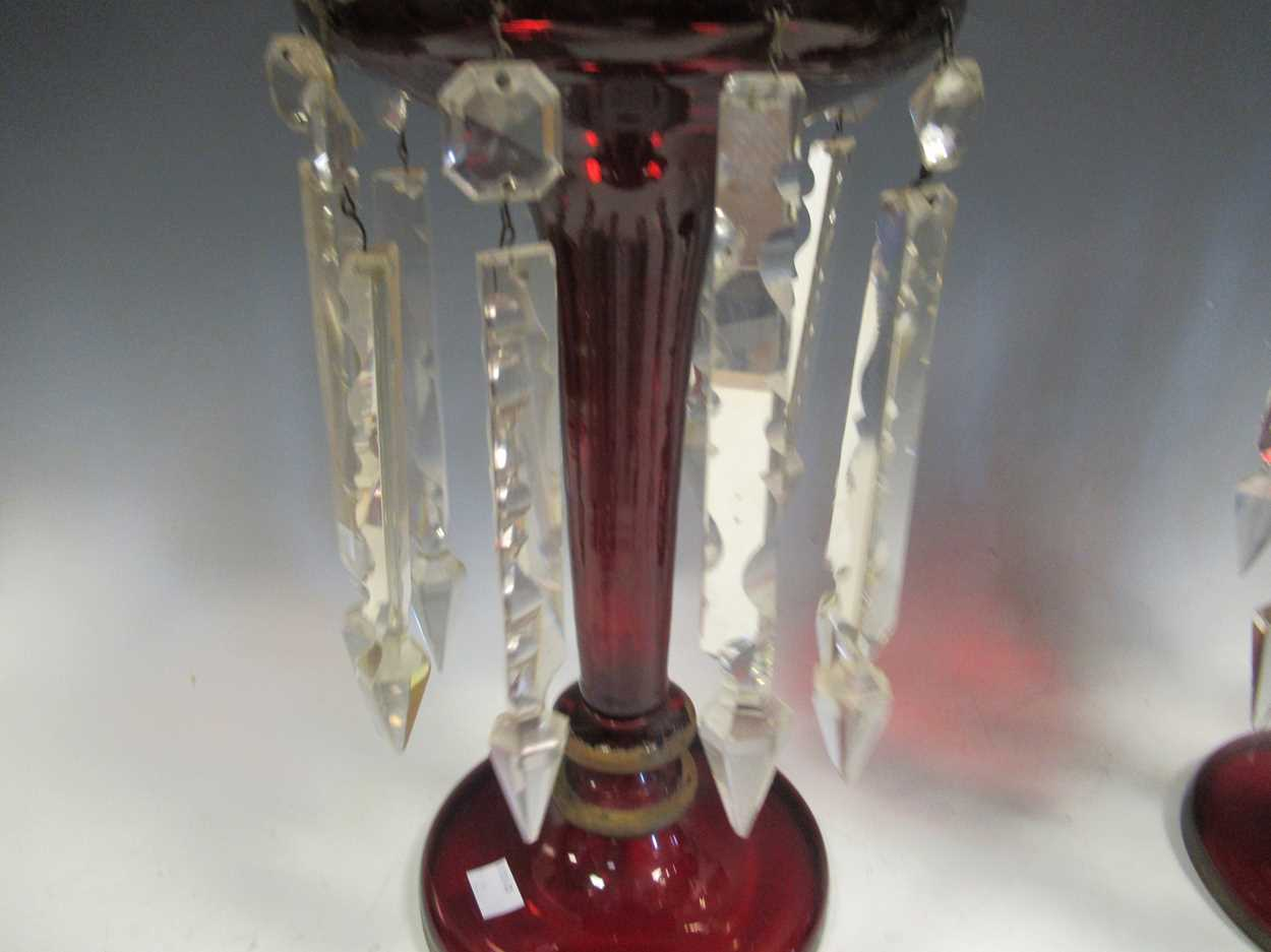 A pair of Bohemian red glass lustres, with gilt decoration, 40cm high - Image 4 of 9