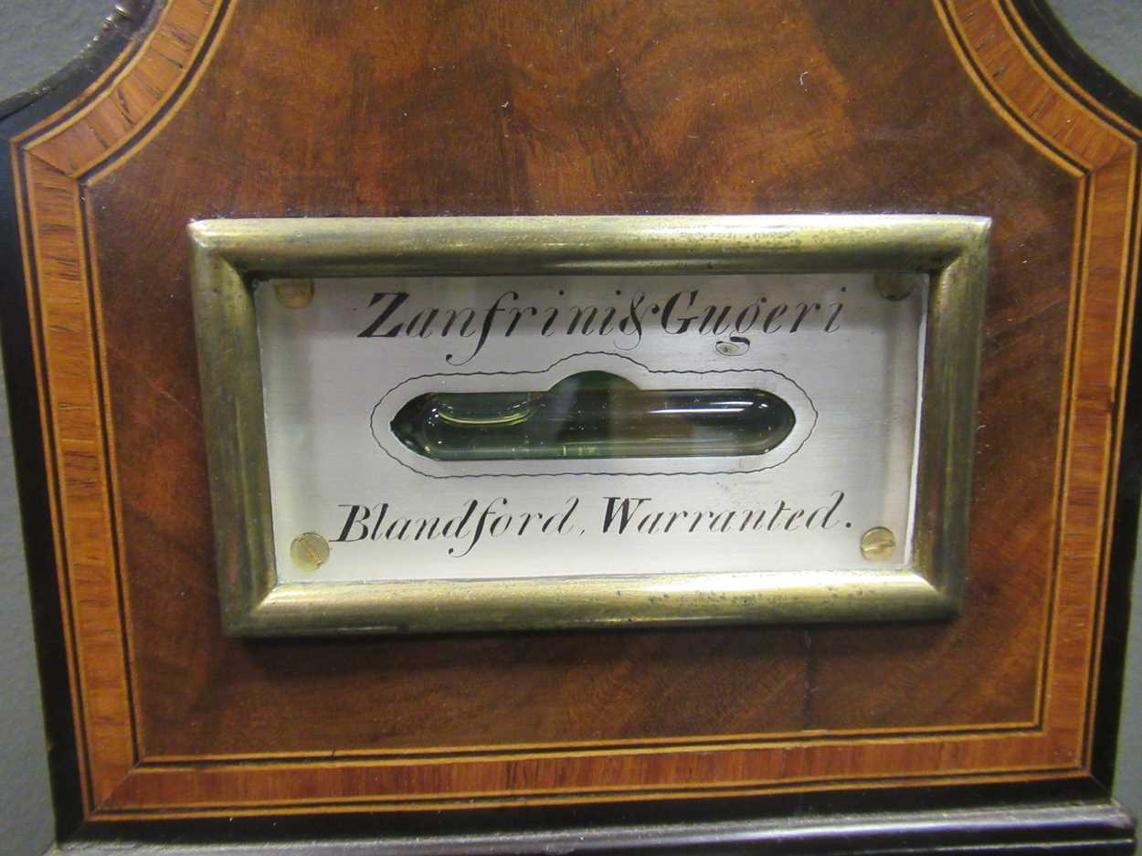 A Regency mahogany wheel barometer, maker Blandford, with silvered dial, the case with boxwood and - Image 4 of 10