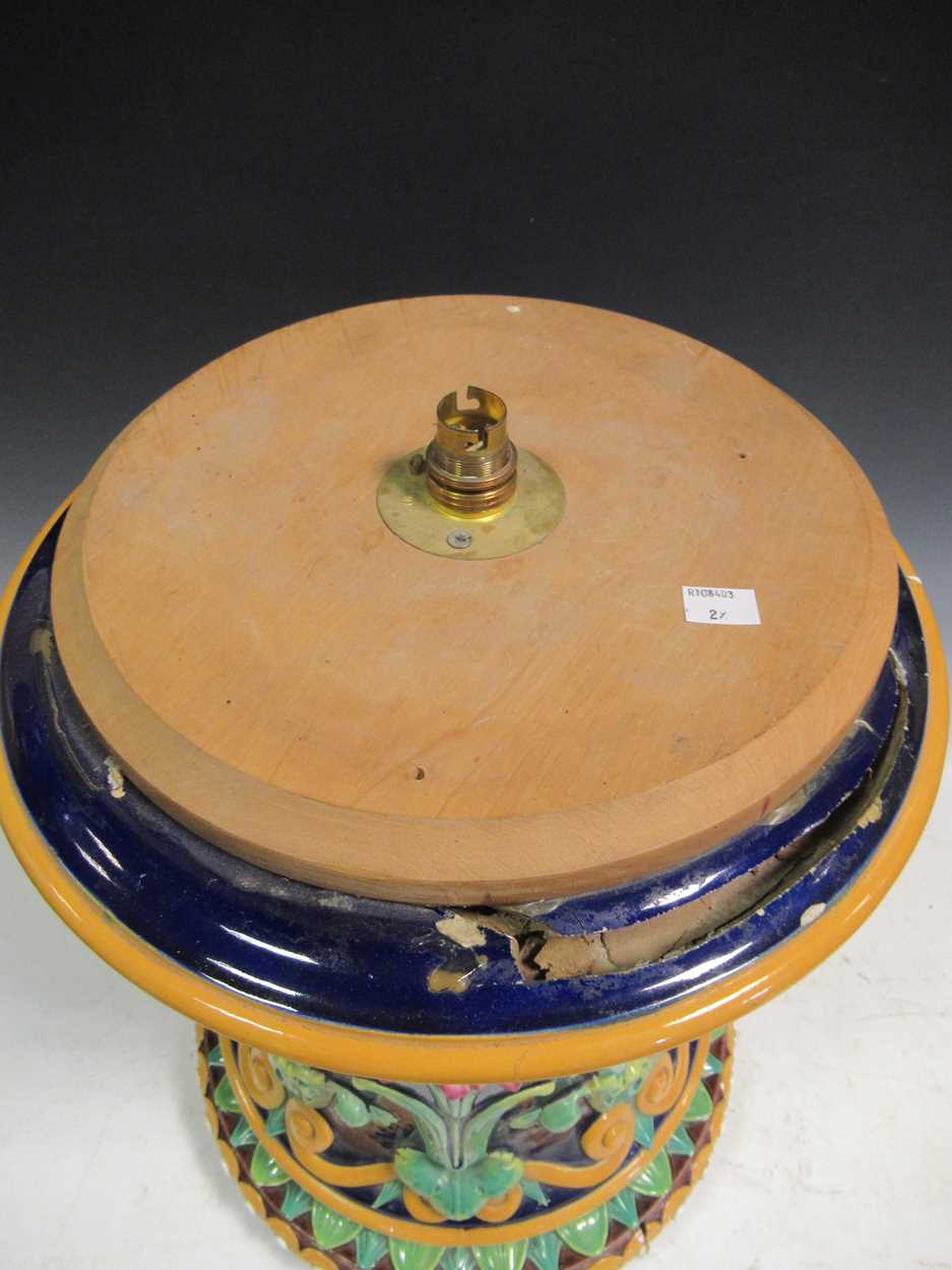Minton majolica jardiniere stand converted to a light, impressed mark, 46cm high (top broken) - Image 4 of 14