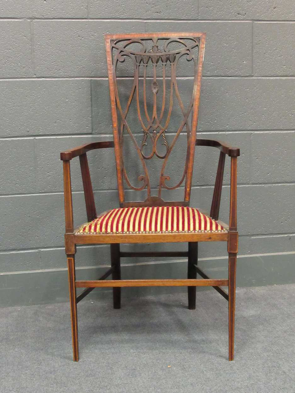 An Edwardian inlaid high-back elbow chair together with an X-frame stool - Image 3 of 15
