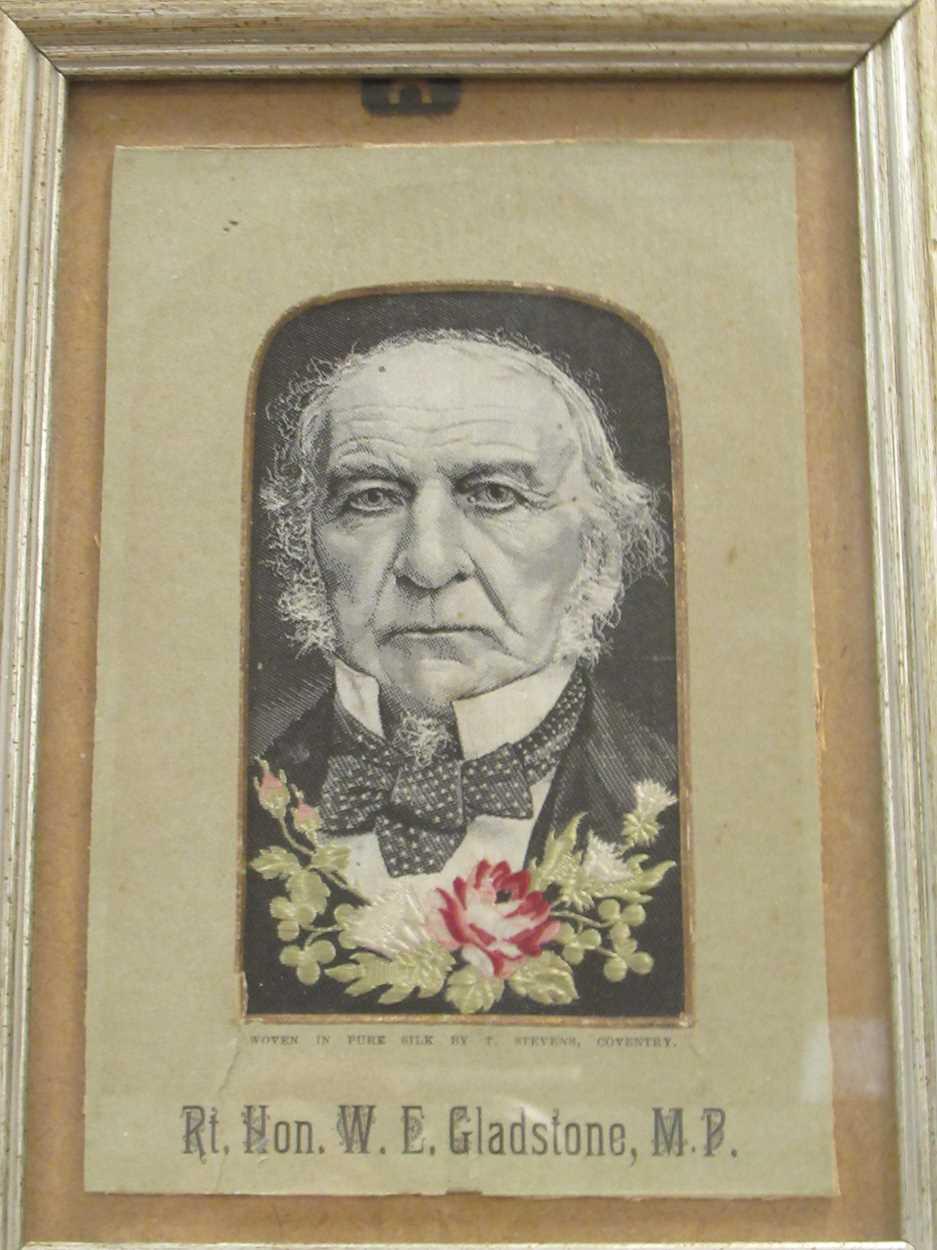 W E Gladstone, a woven Stevengraph portrait 15 x 10cm & Russian scene - Napoleon's flight, 1811 17 x