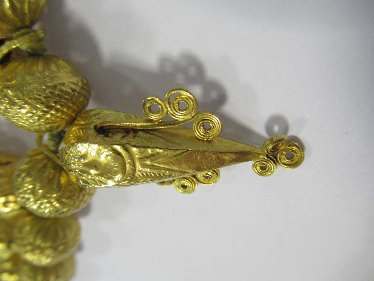 An Indian wax filled bead necklace, tested as 22ct gold, gross weight 83.2g, together with a - Image 8 of 14