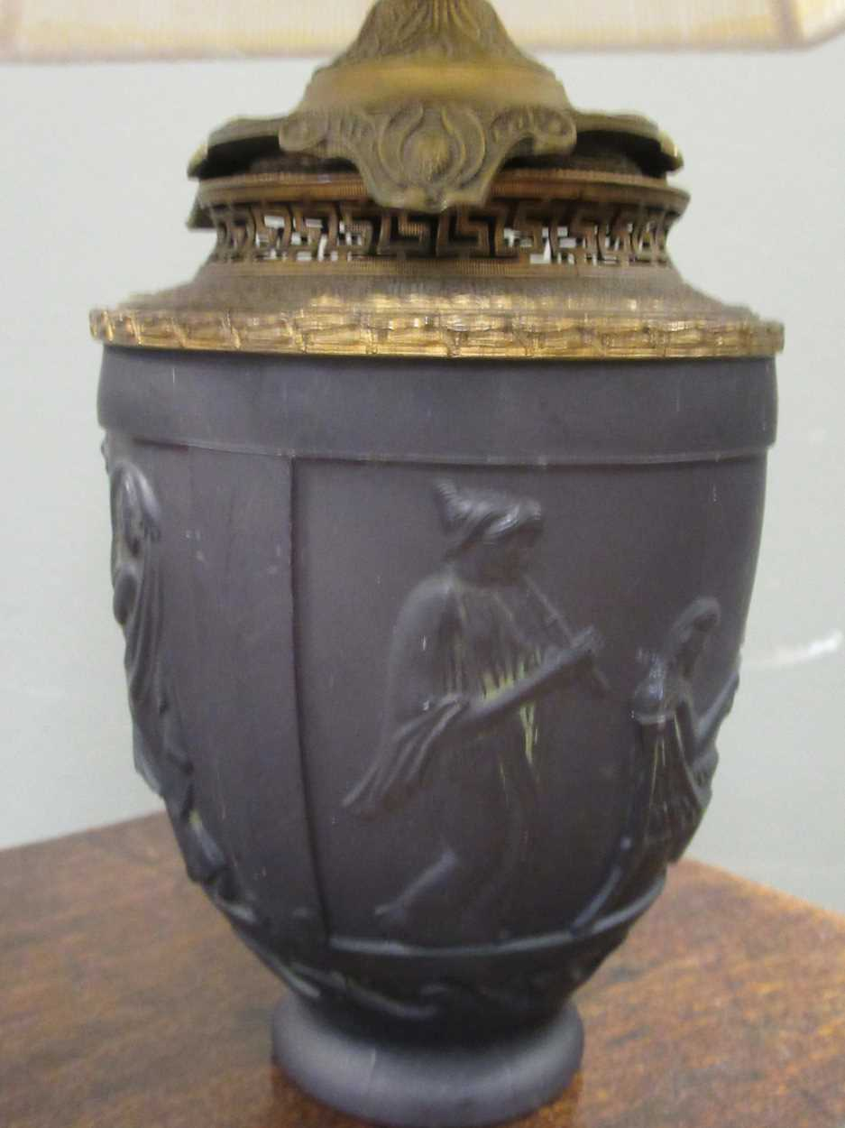 A G. de Feun black glass vase, now adapted as a lamp, 36cm high including shade - Image 3 of 4
