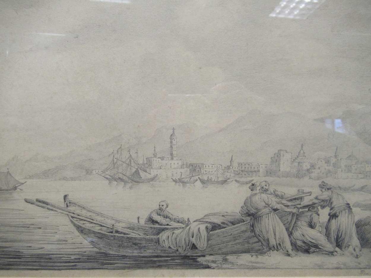 Italian School (19th century)A Mediterranean coastal scene with figures hauling a boat, dated