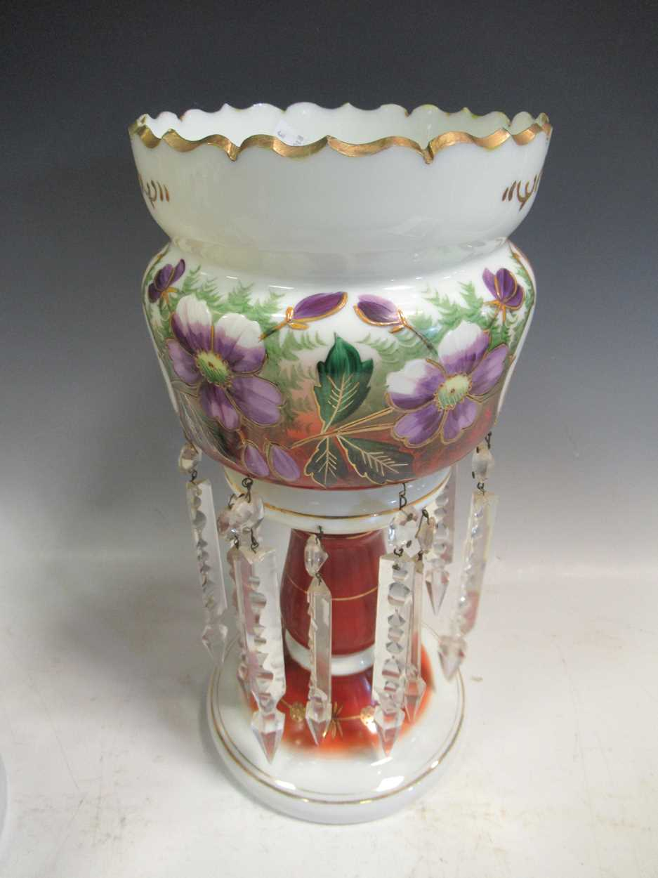 A pair of late 19th century continental opaque white glass lustres, each printed and painted with - Image 5 of 15