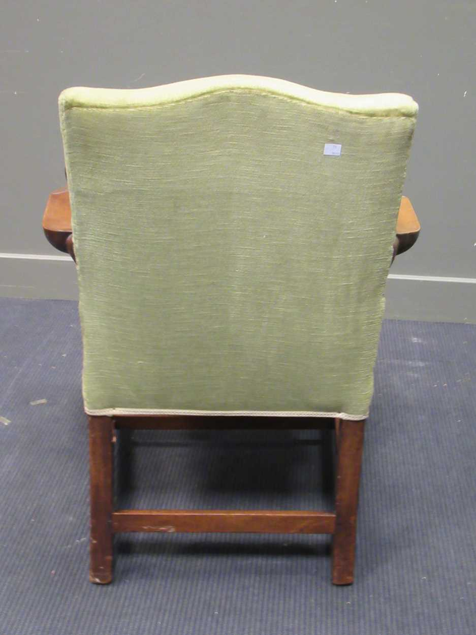 A George III style elbow chair with serpentine back and seat on carved legs with fret carved - Image 6 of 6