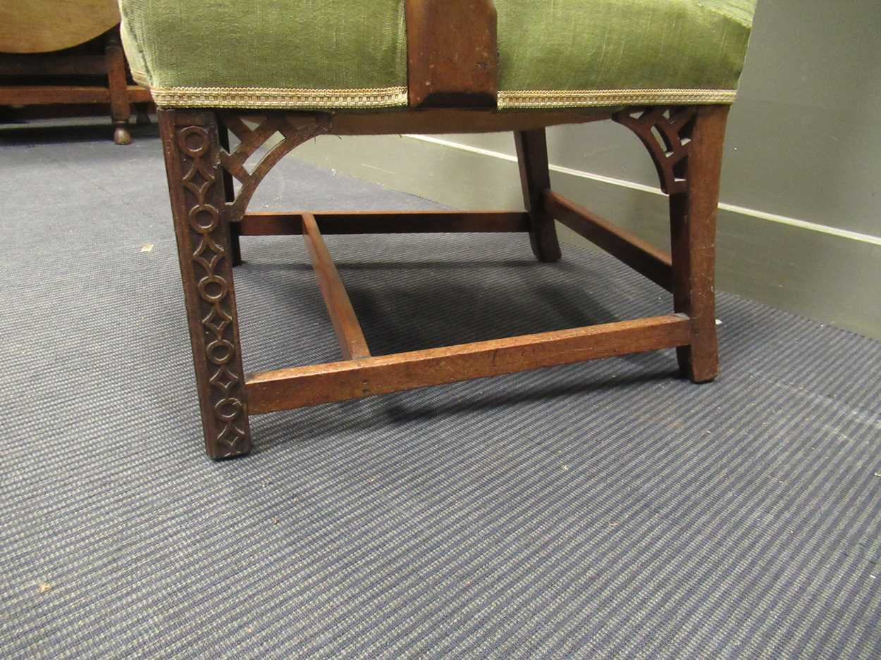 A George III style elbow chair with serpentine back and seat on carved legs with fret carved - Image 2 of 6